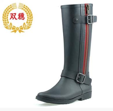 Free Shipping Fur inside Women High-top Waterproof Shoes Women Knee-High Rainboots Buckle Rain Boots Water Shoes  Rubber Shoes