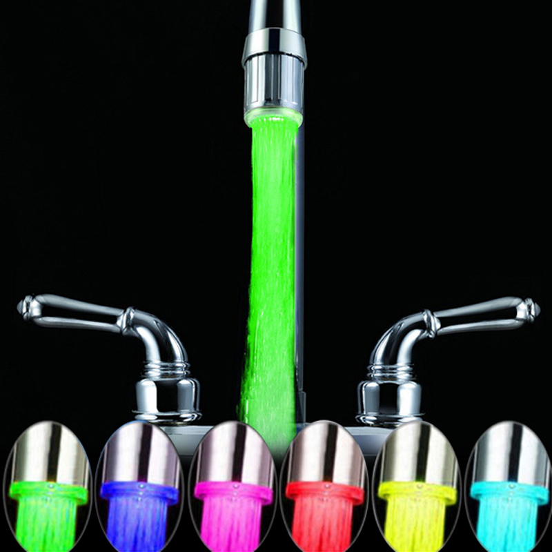 1pcs LED Light Water Faucet Tap Heads Temperature Sensor RGB Glow Shower Stream bathroom faucet 7 Color Auto Changing(China (Mainland))