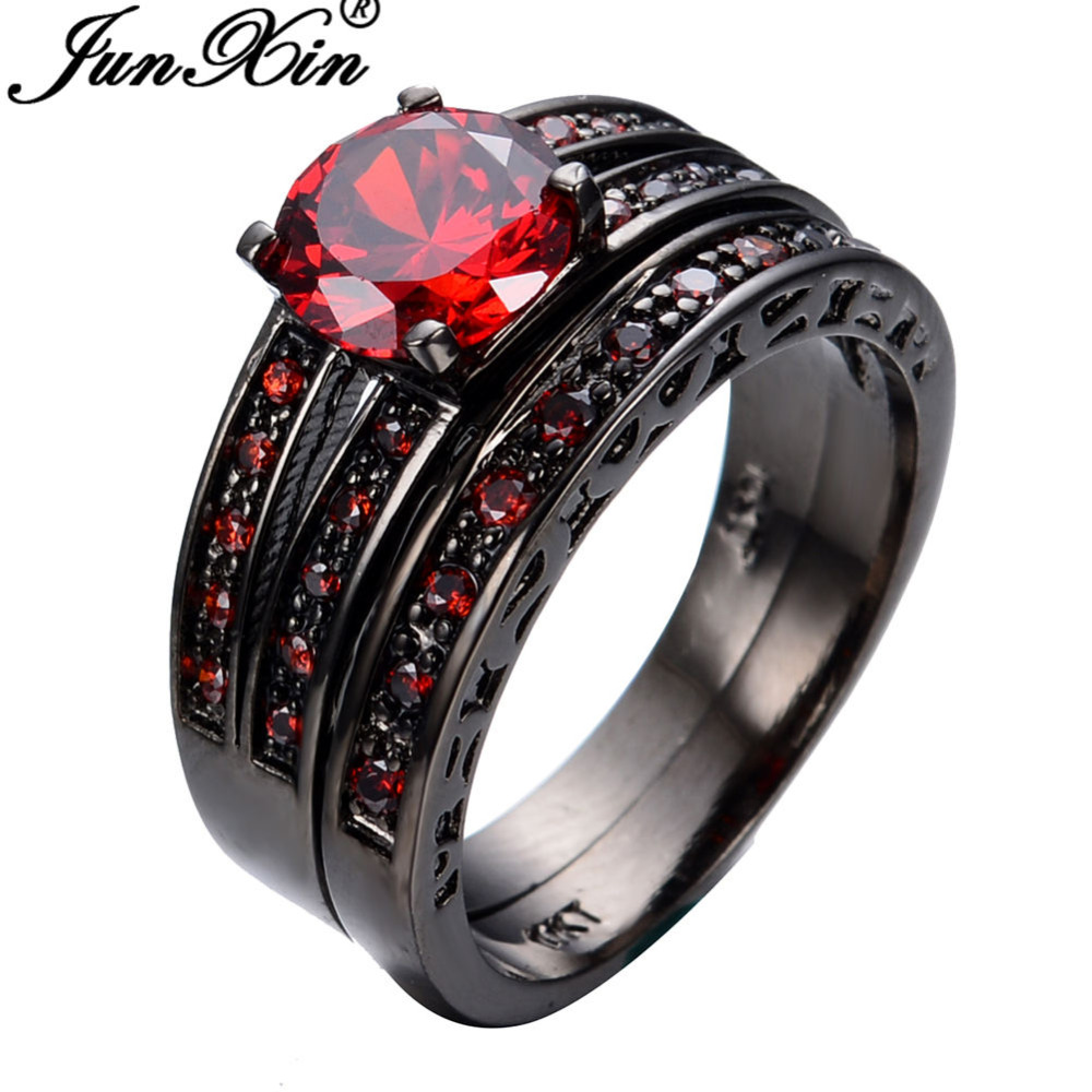 JUNXIN Size 6 7 8 9 10 Ruby Jewelry 2pcs Red Fashion Engagement Ring Set Blac