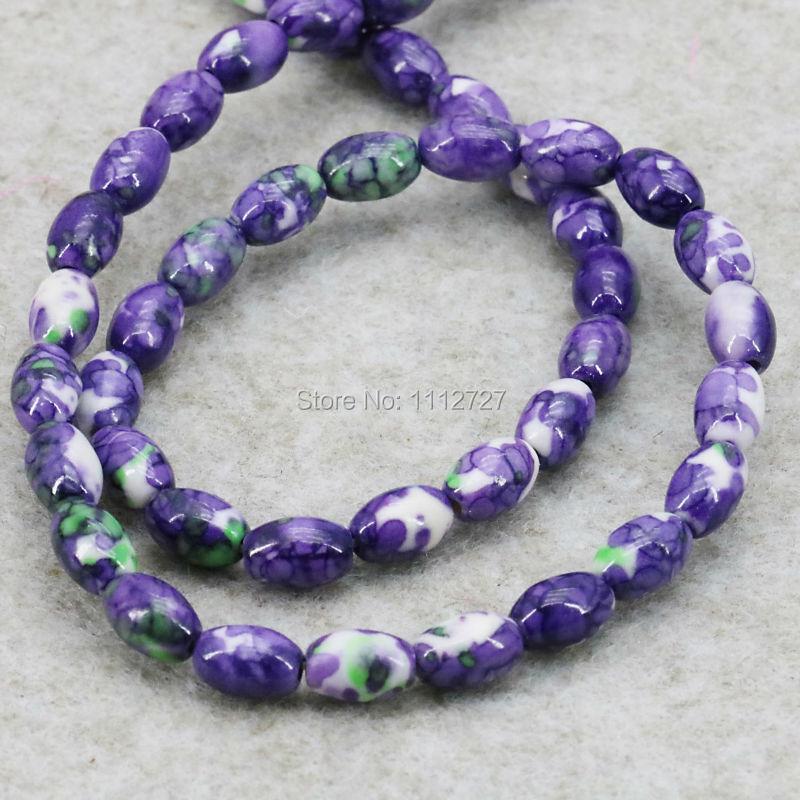 Hot Multicolor Rich Bucket Loose DIY Beads Semi-precious Riverstone Rain Flower Rainbow Stones Women Jewelry making Design 6X8mm(China (Mainland))