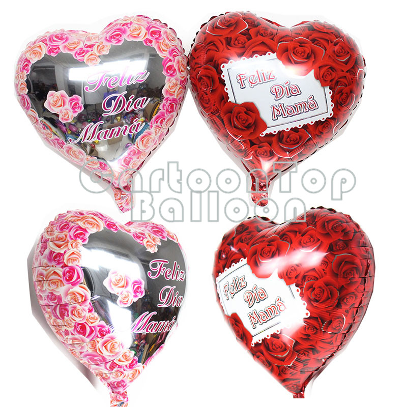 18inch 2pcs/lot Spanish happy mother's day foil balloons heart shaped with rose baloes mother's day birthday party decoration(China (Mainland))