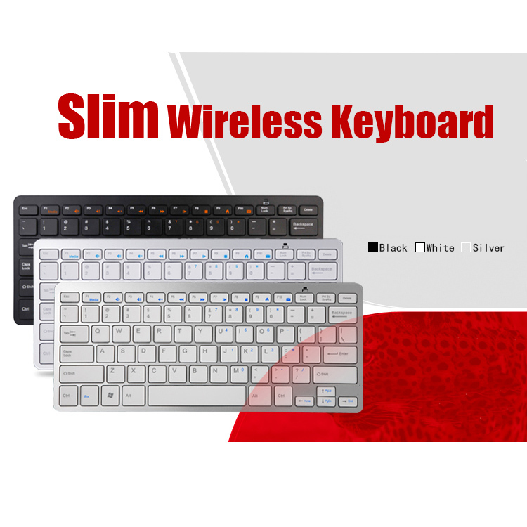 2.4G Wireless Ultra Slim Keyboard Laptop/PC silver white Black teclado - Susan Q's store