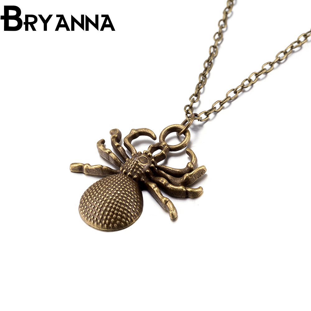 BRYANNA Alloy Collar Necklace Punk Vintage Leather Jewelry Men Women Spider Pendant Necklaces Best Lovers' Gifts BKN90073(China (Mainland))