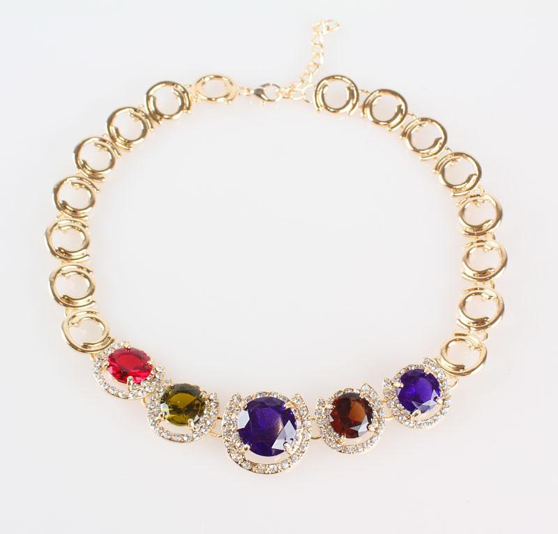 Женщины свадьба ювелирные комплект классический красный камень кристалл позолоченный кристалл циркон серьги ожерелье браслет комплект ювелирных изделий