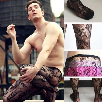 men sexy tights Men's socks fishnet stockings Man spider web pantyhose cross silk stockings Totem tights stockings pantyhose(China (Mainland))