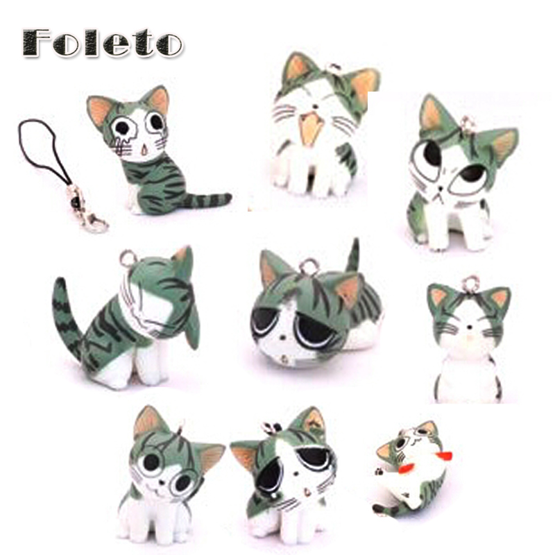 9pcs Set Kawaii Squishy Trinket Cell Phone Accessories a Full Range Of Sweet Home Cat Mobile Pendant/Japan Cheese Cat(China (Mainland))