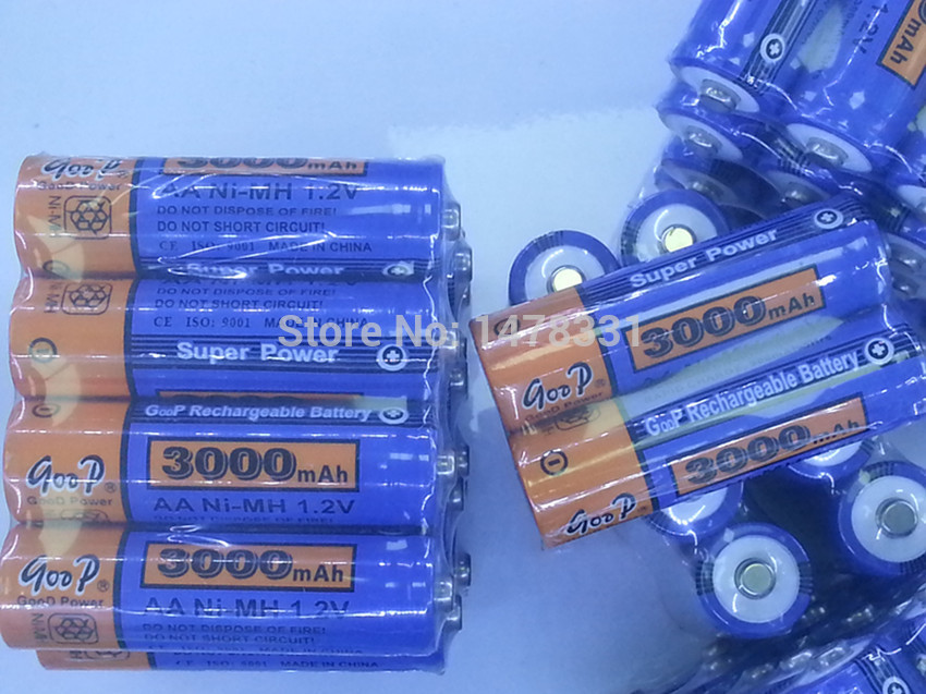 High Quanlity Rechargeable Battery AA 3000mAh 4 X BTY NI MH 1 2V Rechargeable 2A Battery