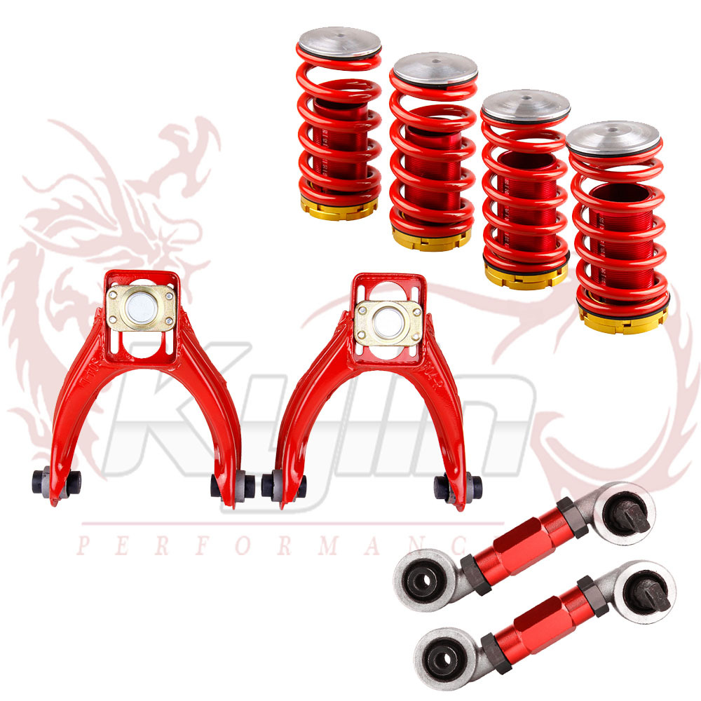 ADJUSTABLE POWDER FRONT + REAR ADJUSTABLE CAMBER ARM KIT FIT FOR HONDA CIVIC EK + Coilover Spring for Honda Civic 88-00(China (Mainland))