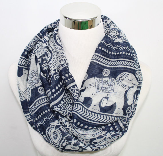 Free Shipping 2015 New Fashion Winter Women Wine Red Navy Vintage Animals Print Elephant Infinity Scarf Snood(China (Mainland))