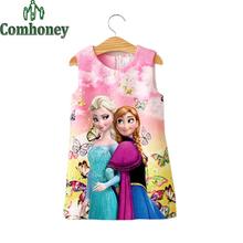 Summer Girls Dress Elsa Anna Dresses for Teenage Baby Snow Queen Butterfly Floarl Sundress Cute Teen Princess Party Kids Costume
