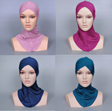 Ladies printe pure color muslim cross inner hats/caps cotton hijab modal Render cap 21 color 20pcs/lot(China (Mainland))