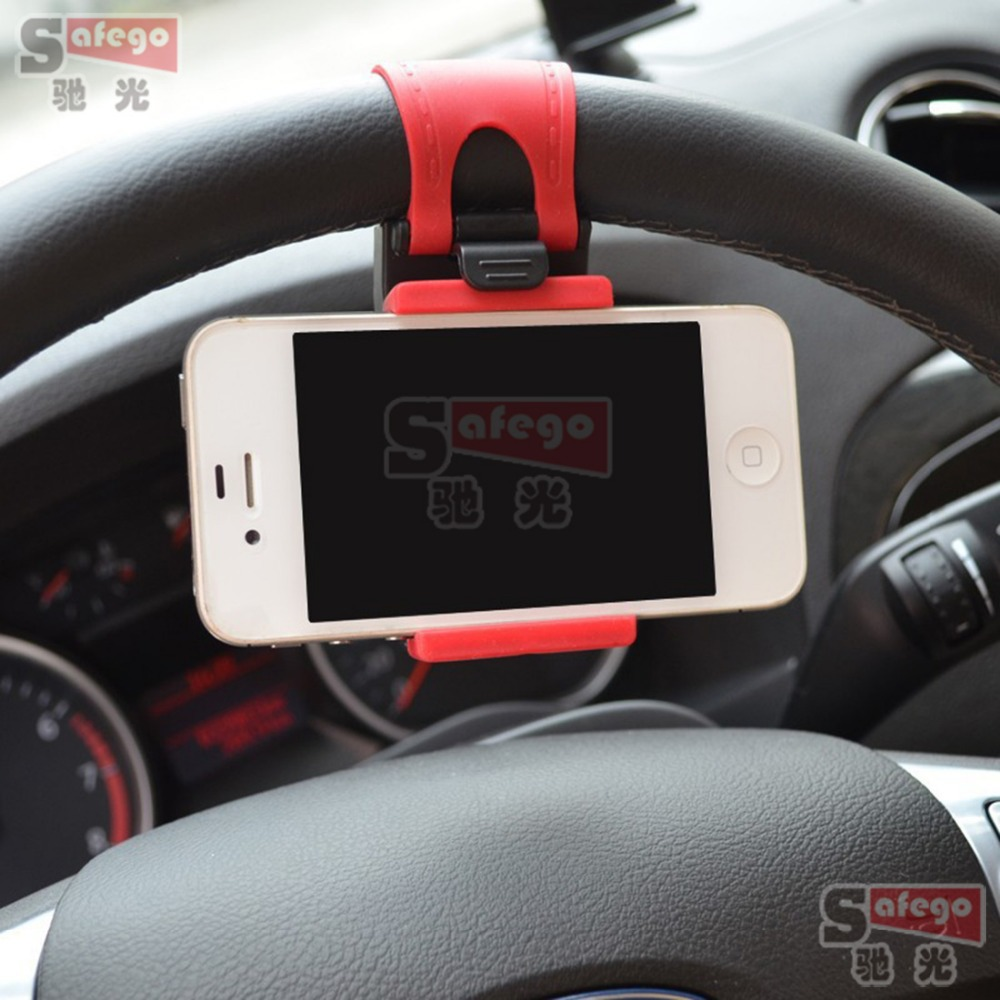 car phone holder Car Steering Wheel Mount Holder Bracket Rubber Band - safego Lighting store