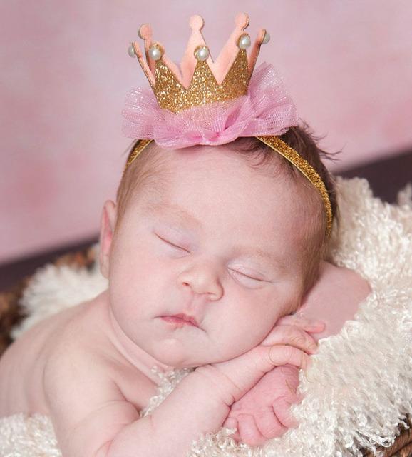Новый Горячий Детские Короны Повязка Золото Принцесса Блеск Корона Лента Для Волос ...