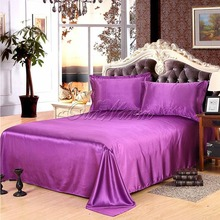 Many Colors Luxury Soft Satin Pillowcases+Bedding Sheet Set Pure Color Home Textile Decoration Product Supply(China (Mainland))