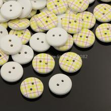 2-Hole Flat Round Tartan Pattern Printed Wooden Sewing Buttons, Dyed, ChampagneYellow, 13x4mm, Hole: 4mm