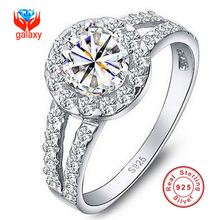 90% OFF!!! Genuine 100% 925 Sterling Silver Ring  Luxury 1 Carat Round Synthetic Diamond Zircon Wedding Rings For Women YXMJ510