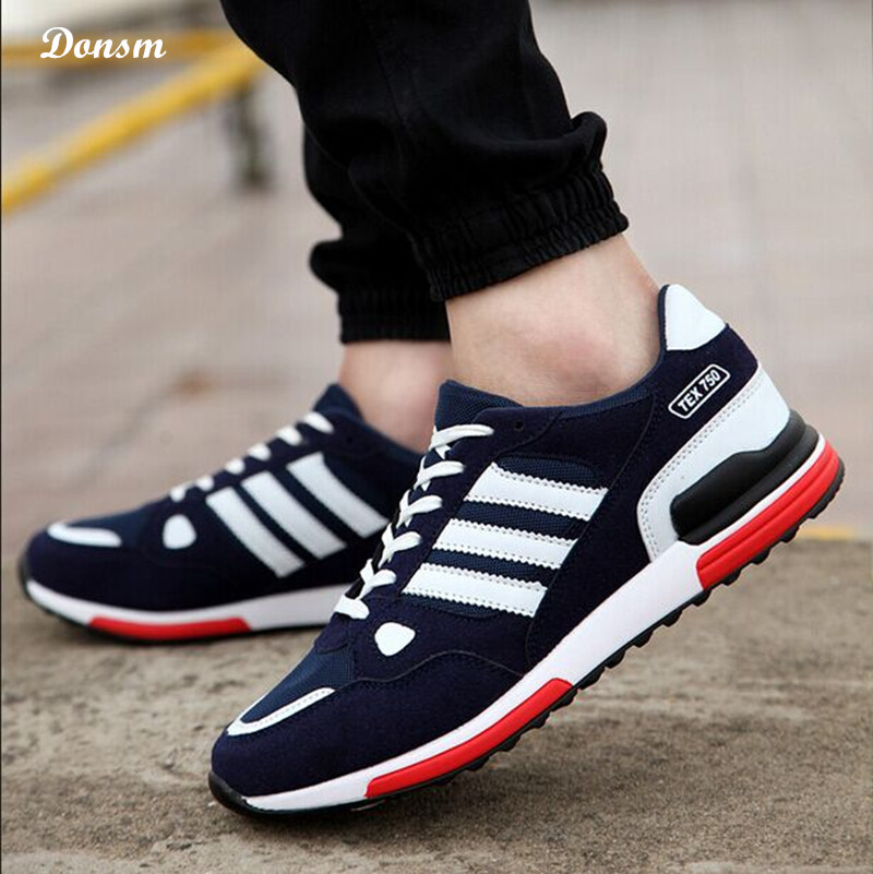 New fashion unisex classic casual strips leather mesh men running shoes outdoor sports women flat sneakers zapatillas deportivas(China (Mainland))
