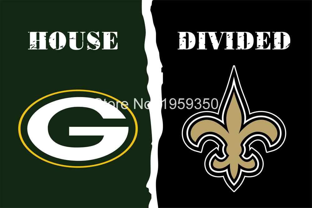 Green Bay Packers vs. New Orleans Saints House Divided Rivalry Flag 90x150cm 40143