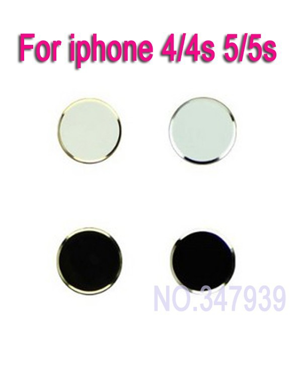 4PCS/Lot Free Shipping With Retail Package Aluminum Metal Home Button Sticker for iphone 4/4s 5/5s(China (Mainland))