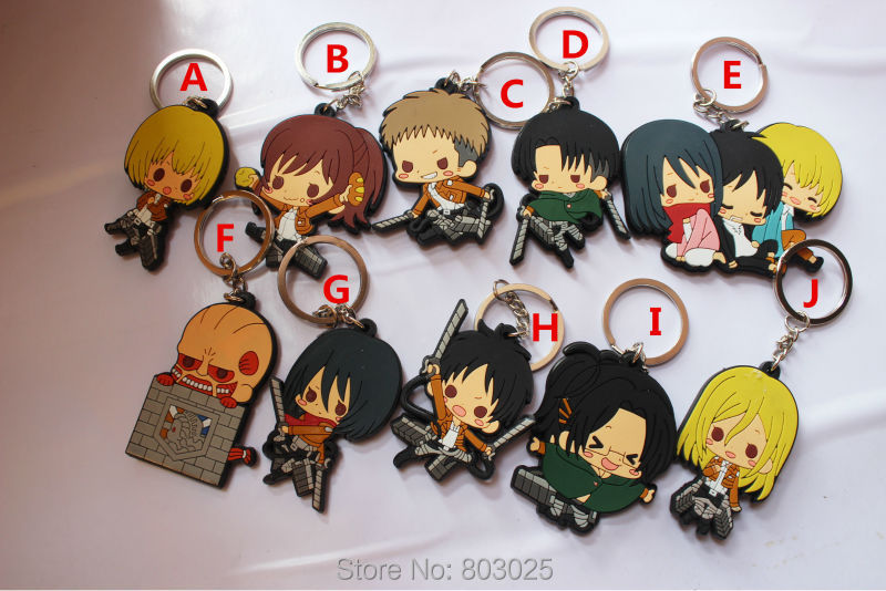 Free Shipping 30pcs/lot Double-faced Silicone Attack on Titan Keychains, Attack on Titan Soft Figures Pendants,Gifts &amp; Promotion<br><br>Aliexpress
