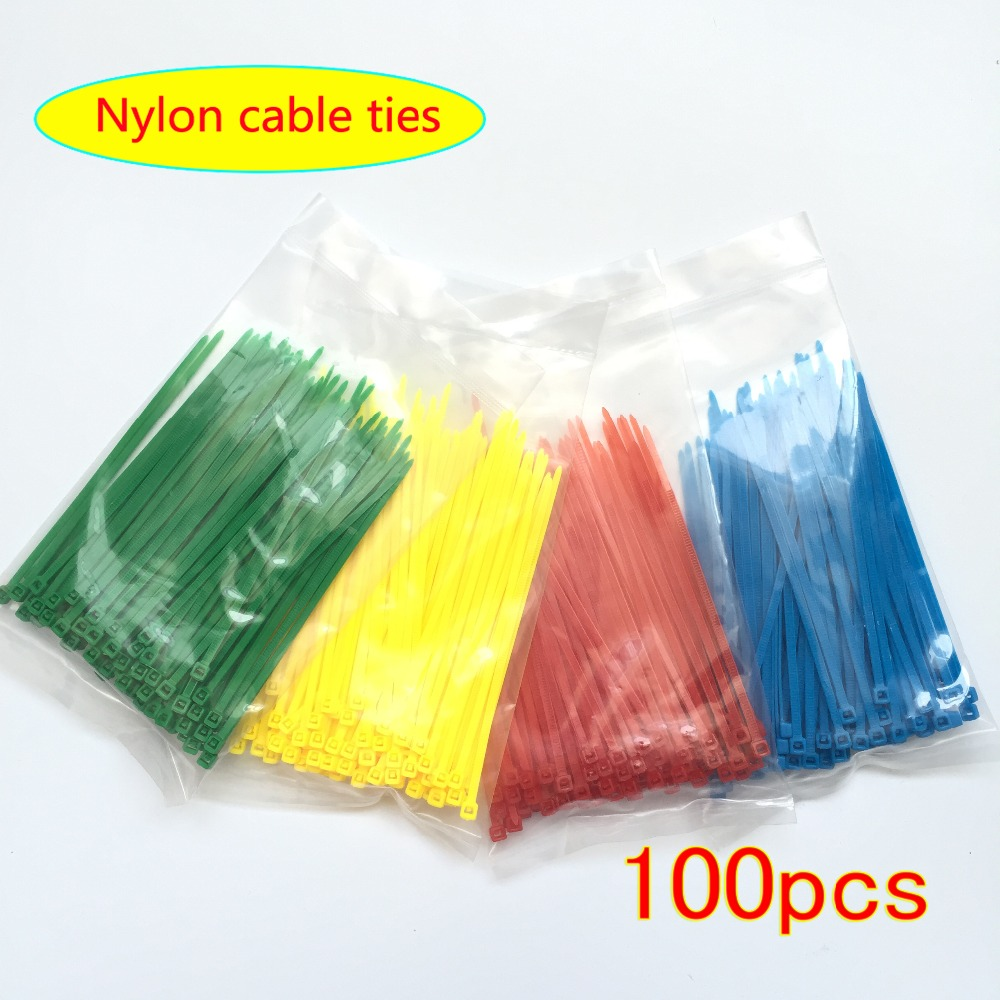 New 100pcs/bag 4 Color 3X100MM Self-Locking Nylon Wire Cable Zip Ties Cable Ties White Black Organiser Fasten Cable