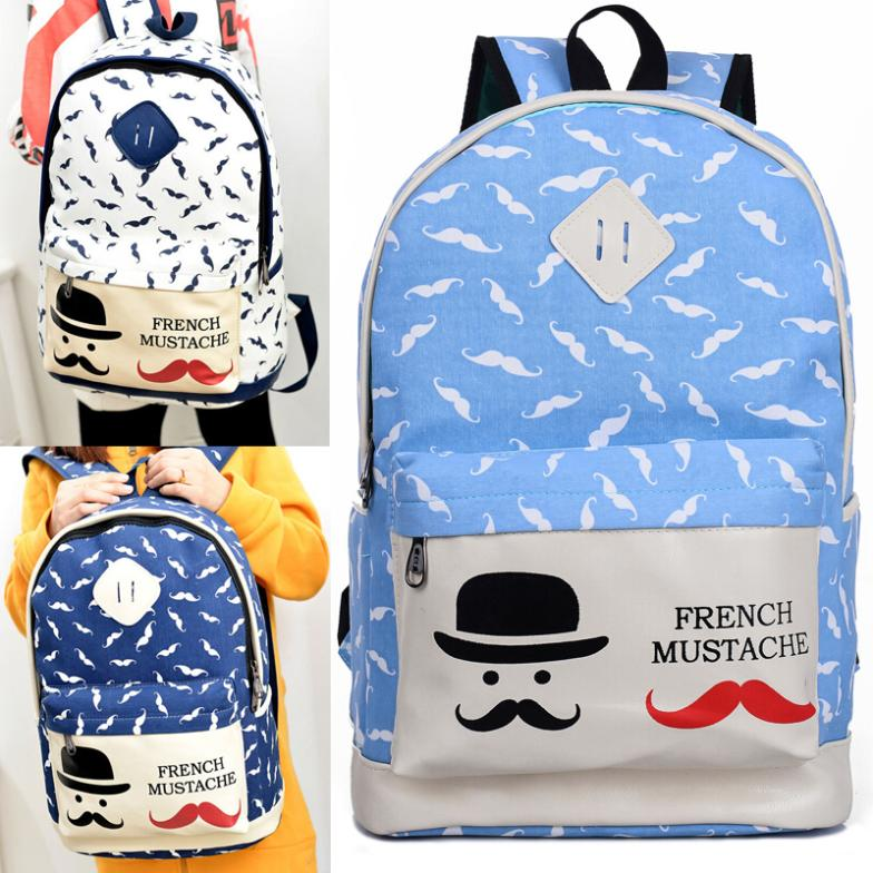 Lovely Cartoon Vintage Retro Backpack Women's Canvas Travel Backpack for Teenage Girls Rucksack HW03074(China (Mainland))