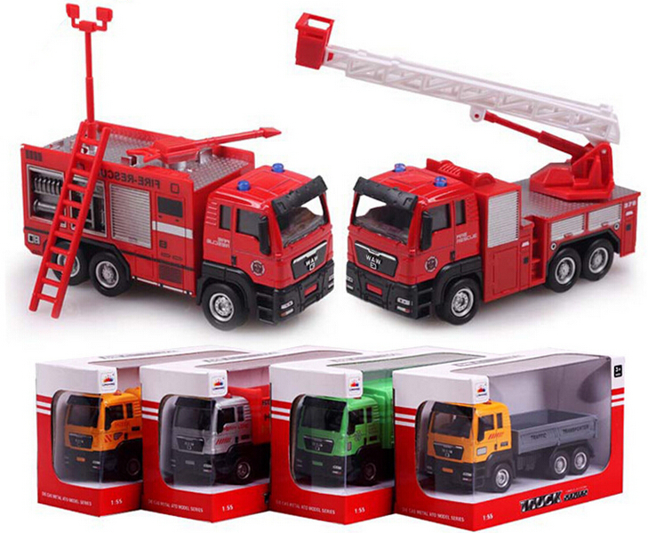 1:55 Alloy Car Truck Scale Models Glide Truck Children's Toy Car Model Kids Toys Cheap Toys Garbage Truck(China (Mainland))