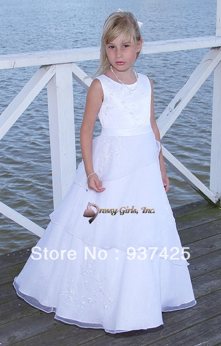 Flower girls pageant dresses tank beads sequins neck floor for Casual flower girl dresses for beach wedding