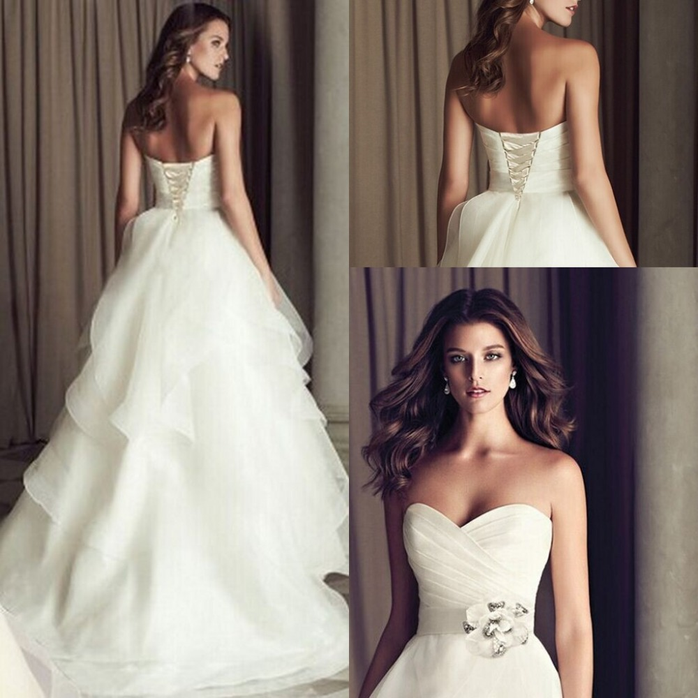 Wedding Gown Lace Up Back : Wedding dresses modest with hand made flower and ruffles lace up back