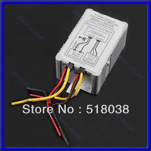 A25 Free Shipping New 24V to 12V DC-DC Car Power Supply Inverter Converter Conversion Device 30A(China (Mainland))