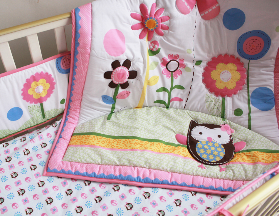 Promotion! 7PCS Embroidery Baby Cotton bedding set crib bed set i (bumper+duvet+bed cover+bed skirt)<br>