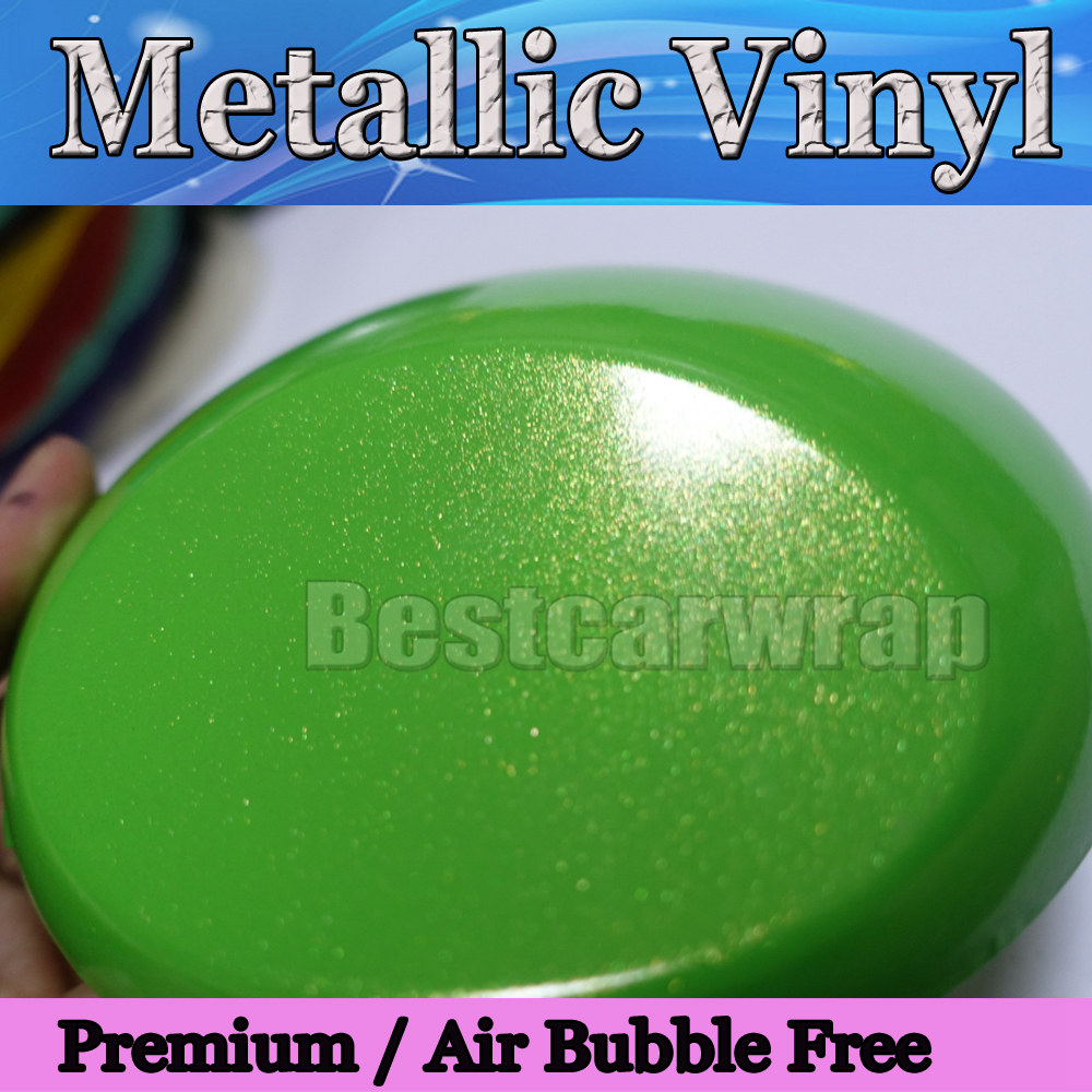 Glossy Metallic Green & gold Vinyl wrap Car Vinyl Film With Air Bubble Free CAST Vehicle wrap stickers foil size 1.52x20m/Roll(China (Mainland))