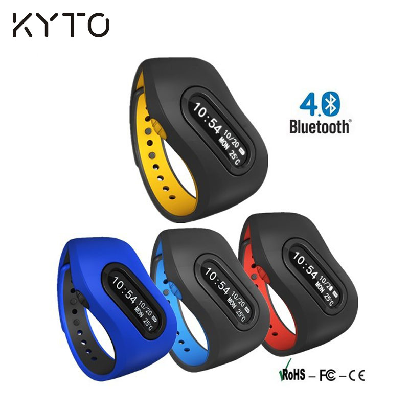 KYTO Bluetooth 4.0 Smart Wristband Bracelet Pedometer Calorie Distance Time Sleep Monitor Sedetary Reminder Water drink Reminder(China (Mainland))