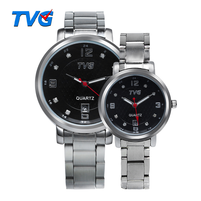 Lovers Watches TVG Brand Fashion Couple Quartz Women Watches Diamond Decoration Dial Calendar Display Waterproof Watch Gift Box(China (Mainland))