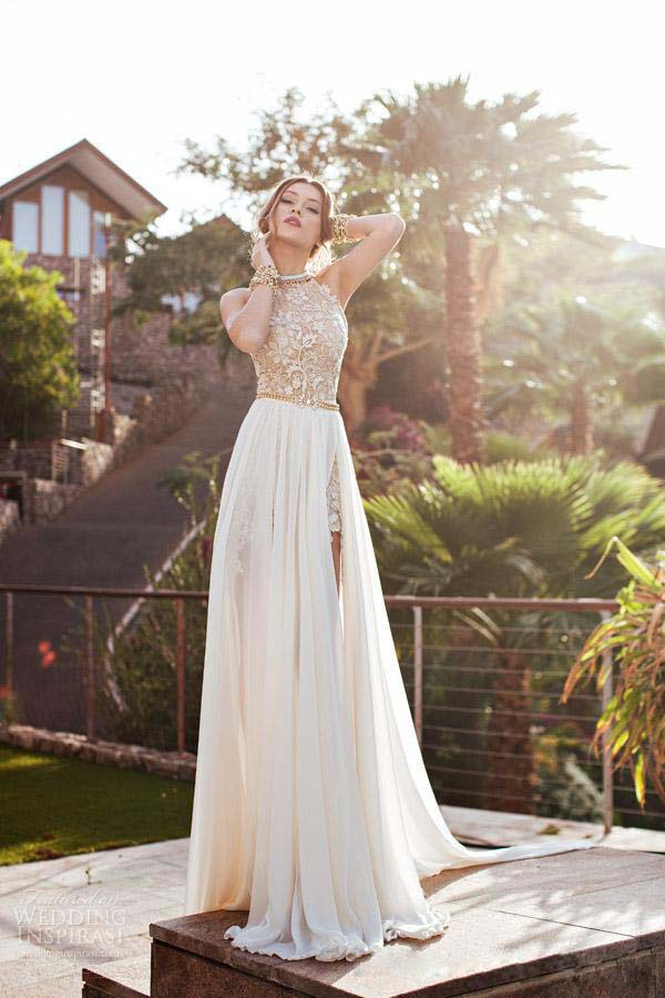 New Designer Summer Beach High Waist Empire Sexy Prom Dresses 2015 Chiffon Side Slit Lace Halter Backless Bridal Gown Plus Size(China (Mainland))