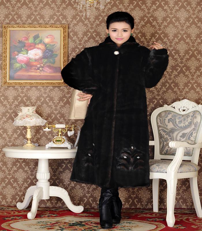 2015 Winter Jacket Women Long Faux Fur Coat Loose Plus Size 7XL Women X-Long Thick Warm Winter Fur Jacket Outwear LJ3492