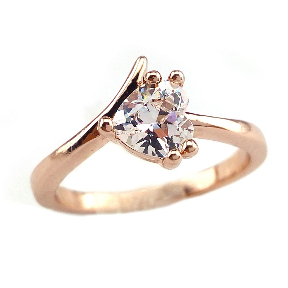 18K Rose Gold Plated Heart shape Clear Sapphire Engagement Ring Size US7 SanJ