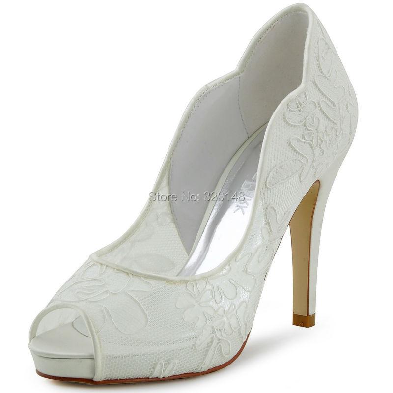 Elegantpark HP1504I Ivory Lace Peep Toe Wave Cutting High Heel Inside Platform Wedding Bridal Shoes(China (Mainland))
