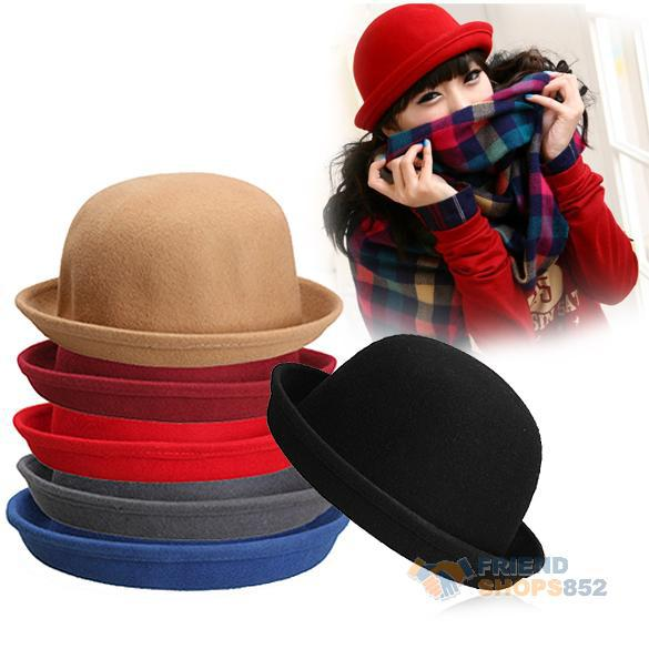 Hot Vintage Women Men Woolen Roll Brim Bowler Hats Unisex Billycock Classic New shop Promotion Free shipping PEPU(China (Mainland))