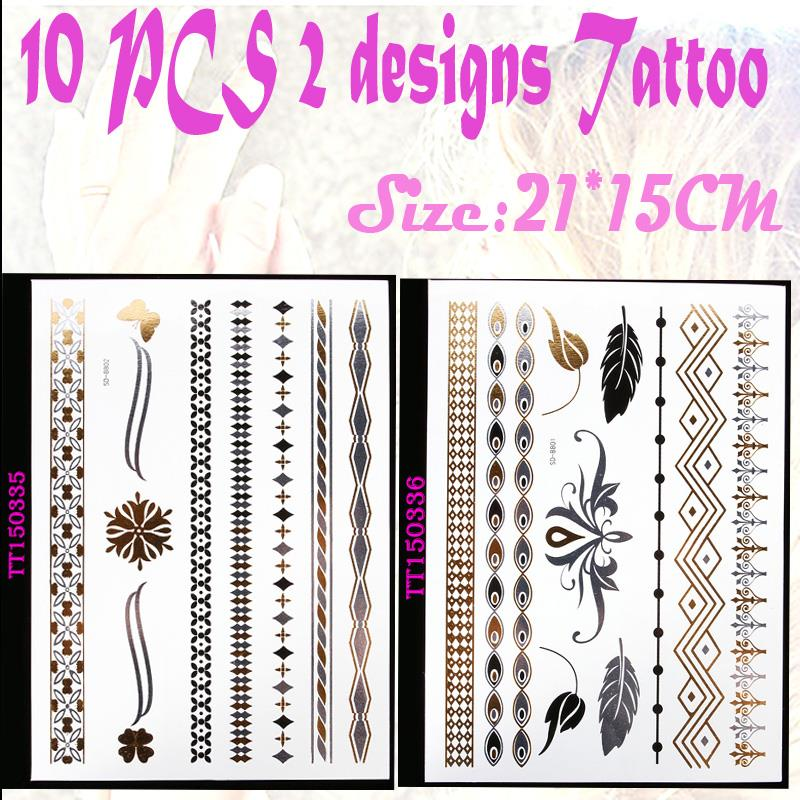 10pcs Party disposable jewelry bachelorette events pirate and indian theme party sticker waterproof gold tattoo flash decoration(China (Mainland))