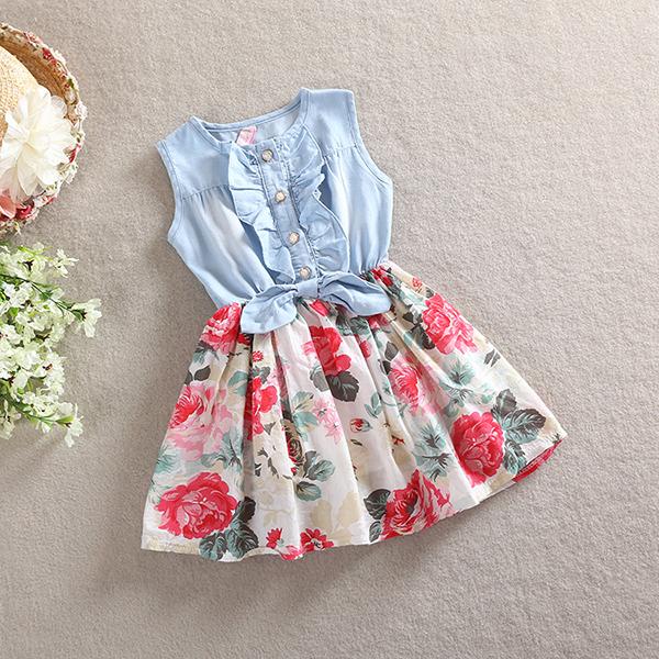 הנמוך ביותר PRICELovely HotKid בנות ג 'ין ג' ינס חצאיות קשת פרח פרע שמלת שמלת קיץ בגדי תחפושת