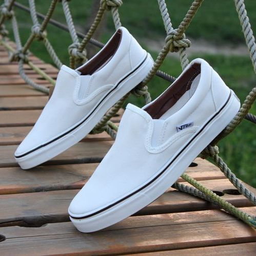 Free shipping Male white canvas shoes pedal shoes lazy white full black work shoes(China (Mainland))