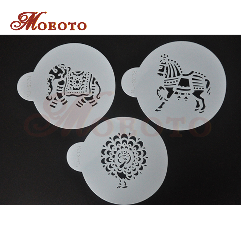 MJ-S078 Indian Animals Lace Set, Cake side stencils,coffee stencil sets,plastic art stencils, cake spray mold,free shipping(China (Mainland))