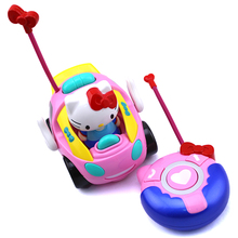 New baby boys girls Remote Control Electric toy car kids RC Car High speed Cute cat musical light Child Car toys Color random(China (Mainland))