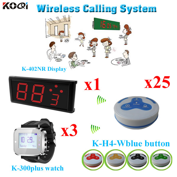 Wireless Call Button System For Restaurant Table Numbers Wireless Transmission ( 1 display+ 3 watch+25 call bell)(China (Mainland))