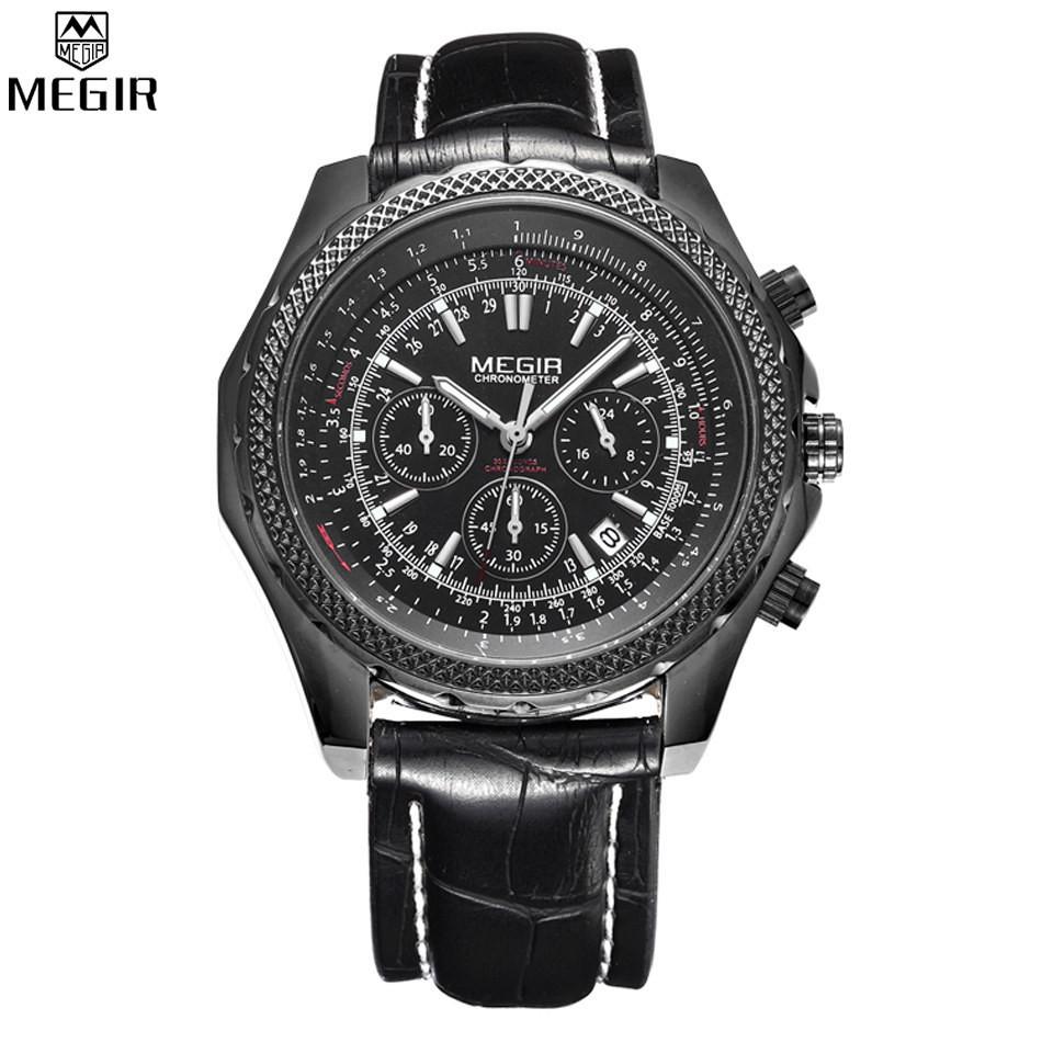 MEGIR Бренд Хронограф Мужчины Водонепроницаемый Спортивные Повседневная Мужская Часы Кожаный Ремешок Кварц Мода Военные Часы Часы Relogio