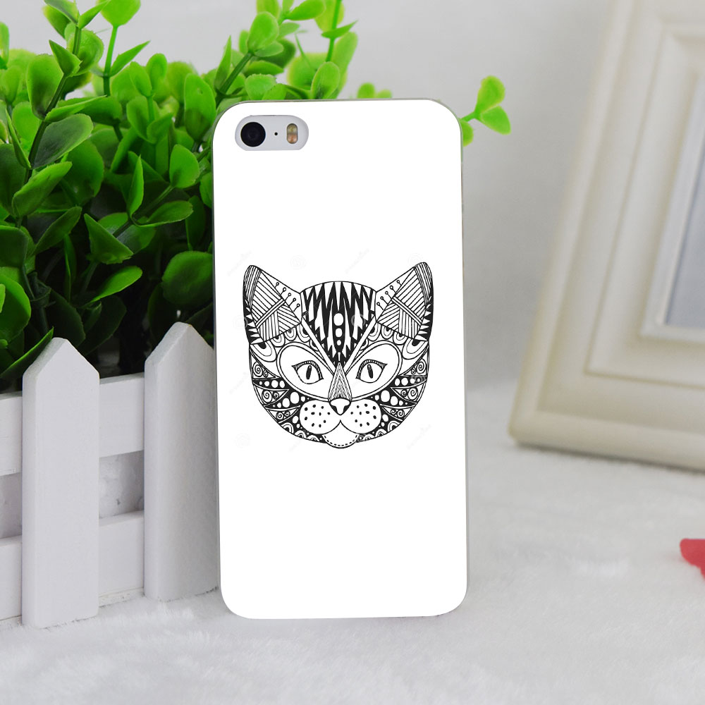 A0682 Ornamental Head Cat Trendy Ethnic Transparent Hard Thin Case Cover For Apple iPhone 4 4S 5 5S SE 5C 6 6S 6Plus 6s Plus(China (Mainland))