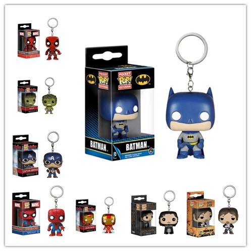 FUNKO POP Pocket POP Keychain : Captain America Batman Avengers Hulk Spider-Man Avengers 2 - Thor Hanger With Box(China (Mainland))
