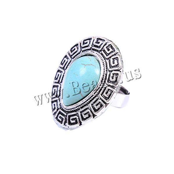 Здесь можно купить  Free shipping!!!Zinc Alloy Open Finger Ring,Jewelry Brand, with turquoise, Teardrop, antique silver color plated, adjustable  Ювелирные изделия и часы