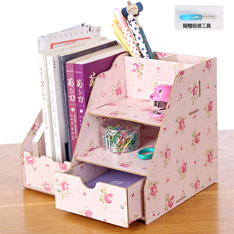2016 Organizador Pen Holder Store Top Fashion Promotion Wood Storage Box Desk Organizer Desktop Wool File Clip Data Rack 1032(China (Mainland))